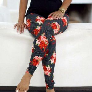 Red Floral Black Plaid Leggings NEW OS or …